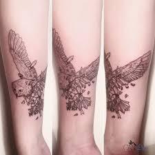 half geometric owl tattoo tattoo pinterest geometric owl