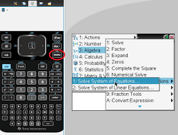 from the calculator section of your calculator you need to press algebra 7 solve system of equations 1 solve system of equations