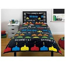 Space Single Duvet Cover Space Invaders Retro Game Single Bed Doona Cover Set Ebay