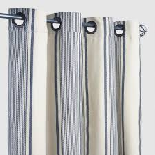 Ticking Stripe Curtains Blue Ticking Stripe Grommet Top Outdoor Curtains Set Of 2 World