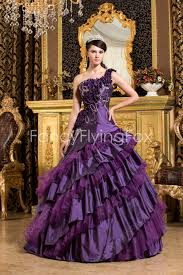 charming one shoulder ball gown floor length purple quinceanera