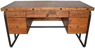 Old Pine Furniture 56 Wide Desk Office Modern Solid Old Pine Wood Metal Quality Wood