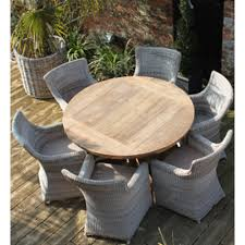 Teak Garden Table York 6 Seat Round Reclaimed Teak And Rattan Garden Dining Set
