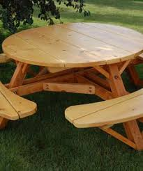 Build Your Own Round Wood Picnic Table by Picnic Tables Toenail Two Sides With Wood Screws To The Table Top