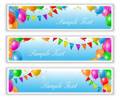 home design holiday banners with flags and colorful balloons