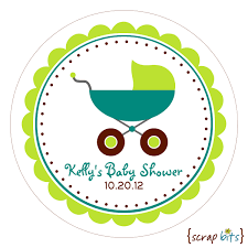 baby stroller personalized baby shower stickers or tags