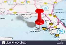 Florida Usa Map by Close Up Of St Petersburg Florida Usa Map With Red Pin Travel