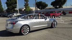 tesla model 3 prototype in the wild outside unplugged performance