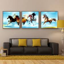 3 panel sell pentium horse modern wall oil painting home