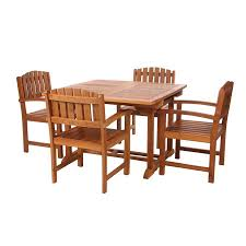 shop all things cedar 5 piece natural teak patio dining set at