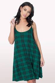 Green Tartan Print Cami Dress Dresses Modamore