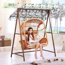Outdoor Swingasan Chair Outdoor Patio Garden Steel Rattan Double Two Love Seat Hanging