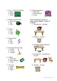 test on classroom and preposition worksheet free esl printable