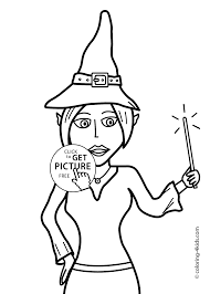 halloween witch with wand coloring pages for kids printable free