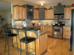 simple kitchen with wooden hickory grey combination kitchen