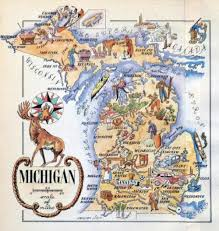 Map Of Michigan State by Detailed Old Tourist Illustrated Map Of Michigan State U2013 1946