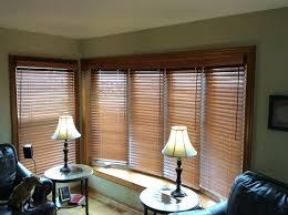 cordless wood blinds in bow window natural wood blinds
