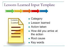 lessons learned report template capturing and applying lessons learned ppt