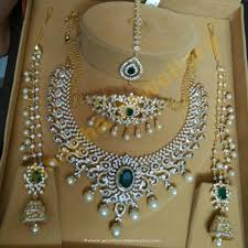 wedding earring necklace set images Diamond bridal jewellery set from anagha jewellery indian bridal jpg