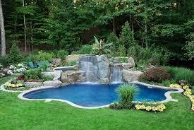 Garden Pool Ideas Tropical Inground Designs Swimming Pool Landscaping Ideas