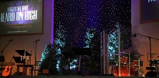 Church Stage Christmas Decorations Conifer Night Church Stage Design Ideas