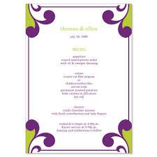 Wedding Menu Template Purple U0026 Green Wedding Menu Templates Elena Grape Do It Yourself