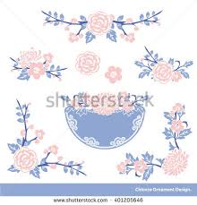 Wishes For Wedding Cards Vector Traditional Floral Wreath Chinese Style Stock Vector