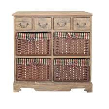 chambre osier commode meuble de rangement 8 tiroirs bois osier marron chambre