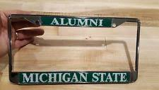 michigan state alumni license plate frame unbranded green license plate frames license plate frames ebay