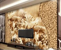 wind flower lotus leaf wood carving tv background wall
