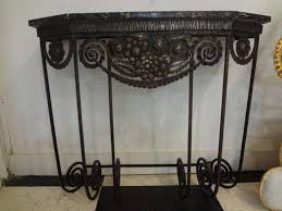 french art deco wrought iron console table on the highboy