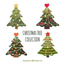 cute christmas tree collection vector free download