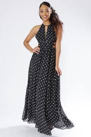 chiffon maxi dress miss polka dot print cutout chiffon maxi dress knowstyle