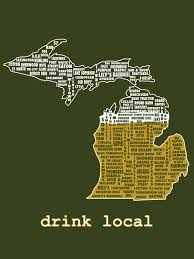 Michigan Breweries Map by Drink Local Michigan Beer T Shirt