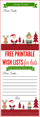 christmas wish list free printable wish list for kids lemonade