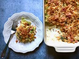 bacon brussels sprouts au gratin zesty olive simple tasty