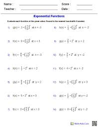 exponential and logarithmic functions worksheet worksheets