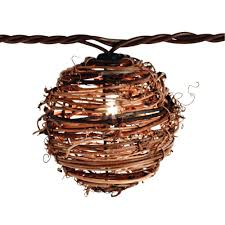Outdoor Wedding Lights String by Patio Lights 10 Light Clear Natural Rattan Ball String Light Set
