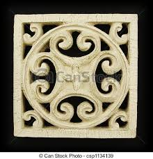 ornate wood carving ornament on black background stock
