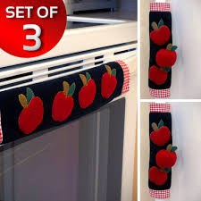 Apple Decorations For The Kitchen by Set Of 3 Kitchen Appliance Handle Covers W Apple Design Walmart Com