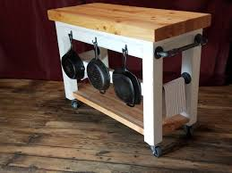 kitchen island cart with butcher block top and black steel