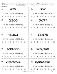 5th Grade Math Worksheets Online Acumen Divisibility Rules Games Printable Bing Images