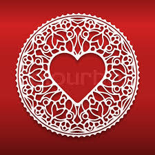 heart shaped doilies circle lace ornament ornamental geometric doily pattern