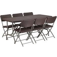 6 plastic folding table flash furniture 32 5 w x 67 5 l brown rattan plastic folding table