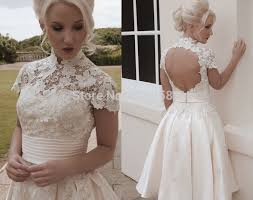 vintage lace wedding gowns short high collar a line taffeta open