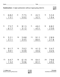 subtraction without regrouping worksheets grade 3 subtraction worksheet 3 digit subtraction without regrouping