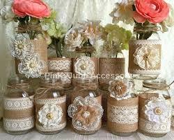 Mason Jar Vases 10x Natural Color Lace And Burlap Covered Mason Jar Vases Wedding