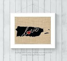 Custom Burlap Art Print Love - puerto rican wall decor kaec site