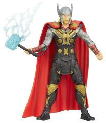 the dark world red caped armored thor with lightning bolt hammer 3