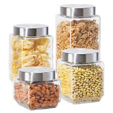 4pc square glass canister set kitchen food storage jars for pasta